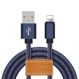 Blue Jean bện Apple Lightning Cable 3.3ft chuyển nhanh cho IPhone X 8 7 6S